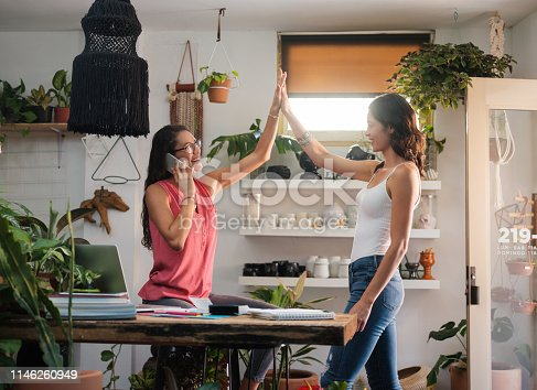 1031394114 istock photo Casual businesswoman celebrating with a high five 1146260949