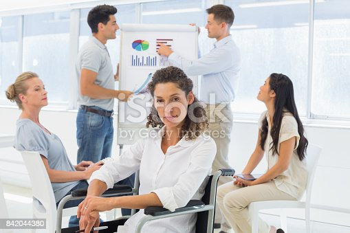 660681964istockphoto Casual businesswoman in wheelchair looking at camera during presentation 842044380