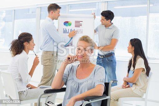 660681964istockphoto Casual businesswoman in wheelchair smiling at camera during presentation 842044306