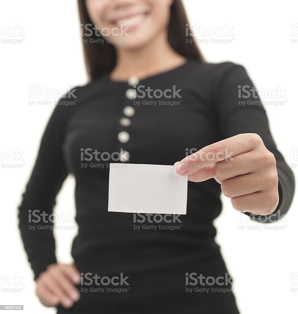 Casual businesswoman showing blank business card royalty-free stock photo