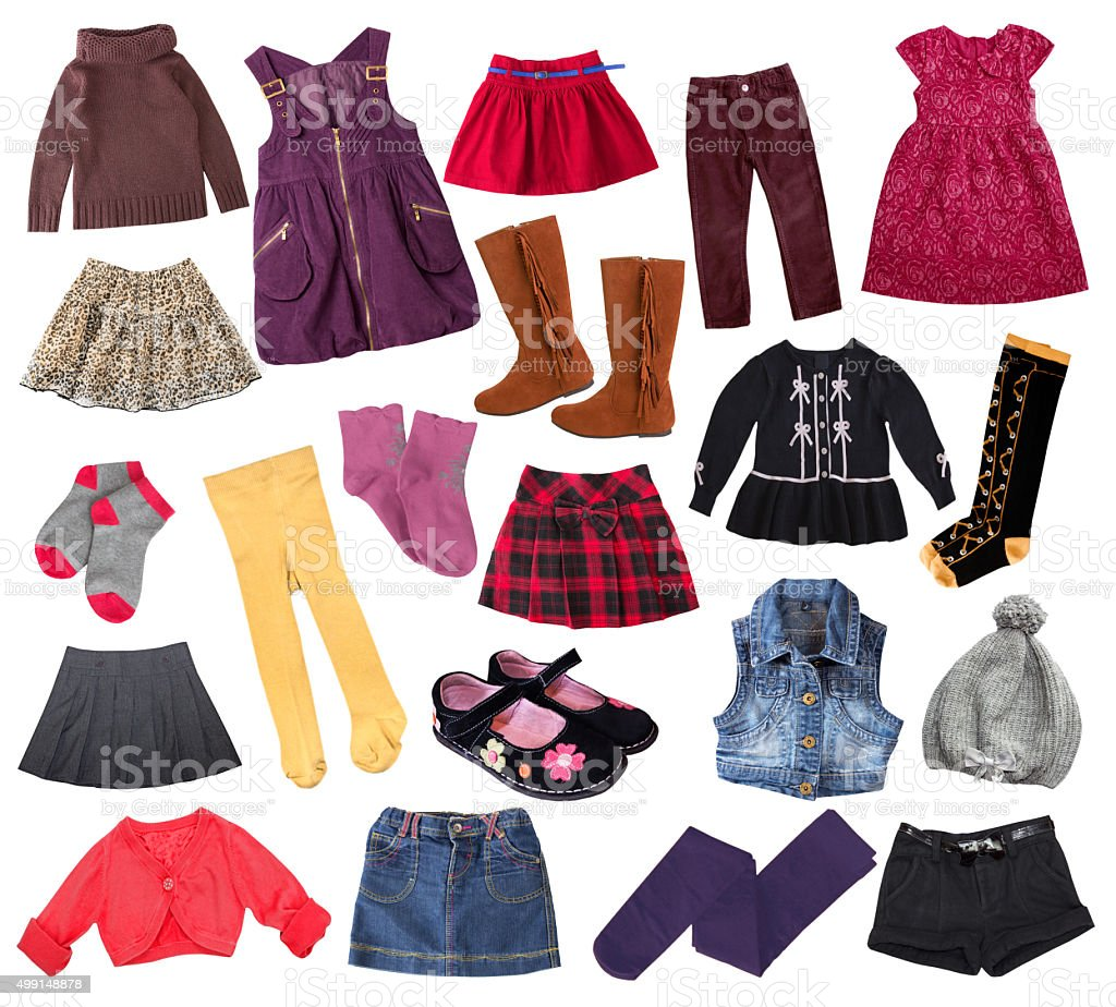 ff6ef027ddfc Casual child girl clothes collage.Kid s apparel collage. royalty-free stock  photo