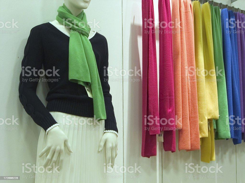 Casual clothing store - Colorful scarves for sale royalty-free stock photo