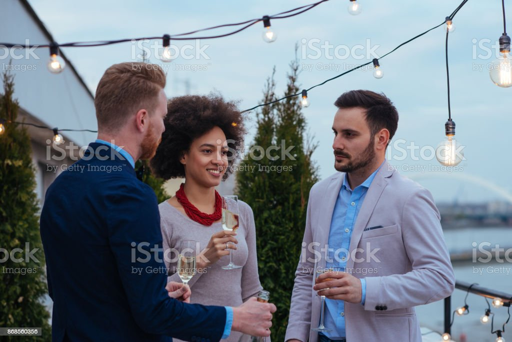 Casual conversation on a perfect evening stock photo