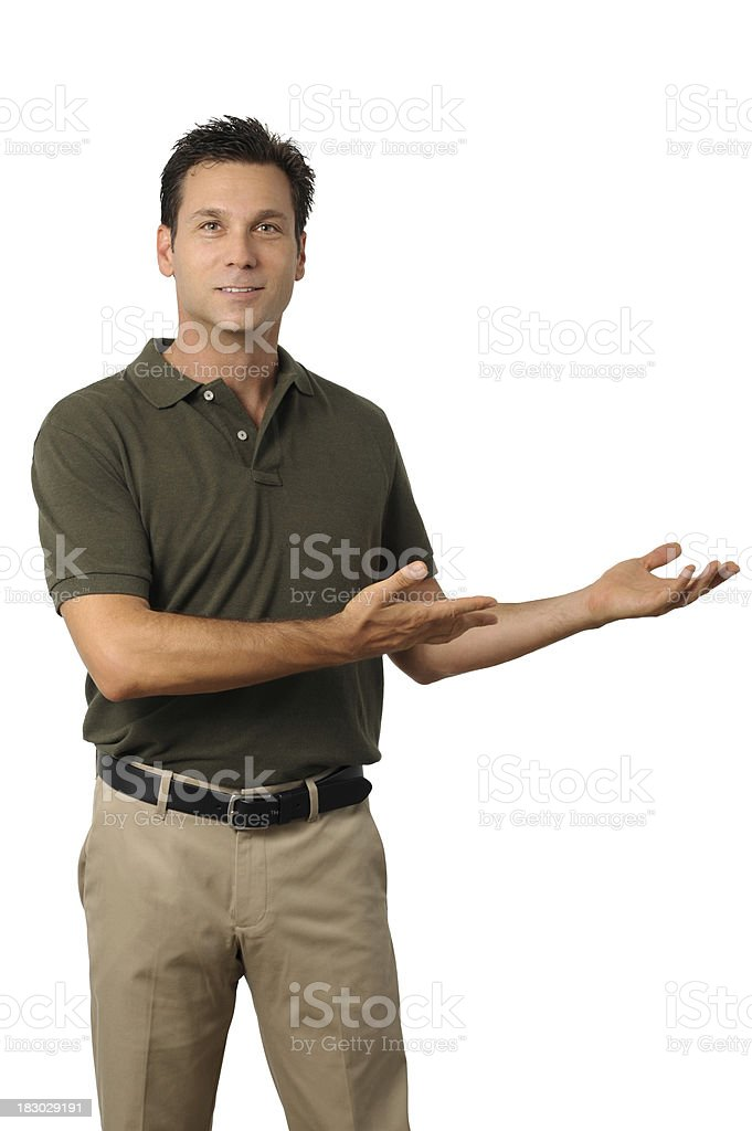 Casual Dress Businessman Gesturing with Hands Isolated on White Background royalty-free stock photo