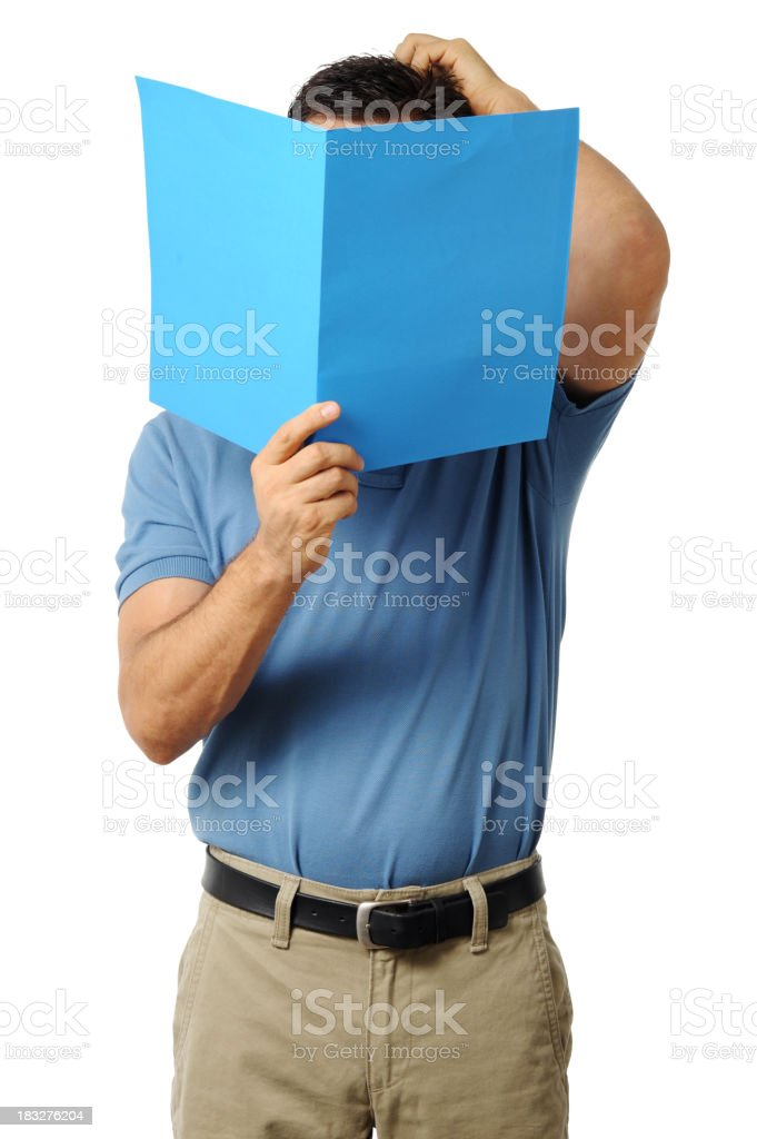 Casual Dress Businessman Looking Reading Folder Scratching Head royalty-free stock photo