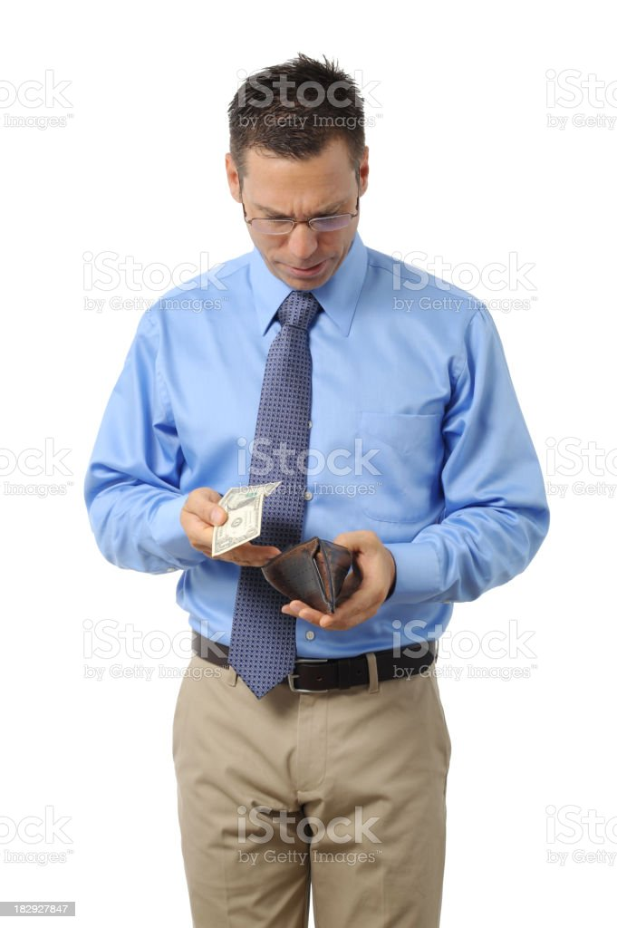 Casual Dress Businessman with One Dollar in Wallet on White royalty-free stock photo