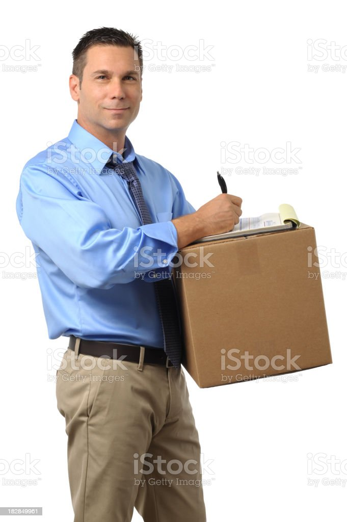 Casual Dress Businessman Writing on Clipboard with Box royalty-free stock photo