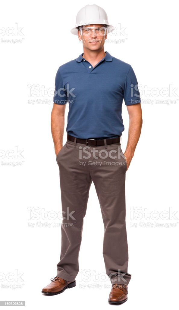 Casual Dressed Contractor Architect Isolated on White Background royalty-free stock photo