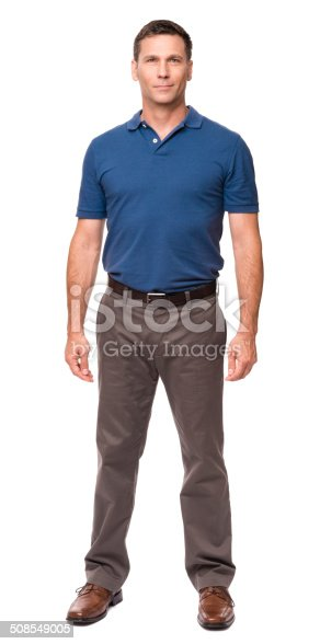 Casual Dressed Man with Hands at Sides Isolated on White Background