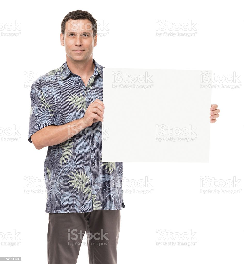 Casual Dressed Man with Blank Sign Isolated on White Background royalty-free stock photo