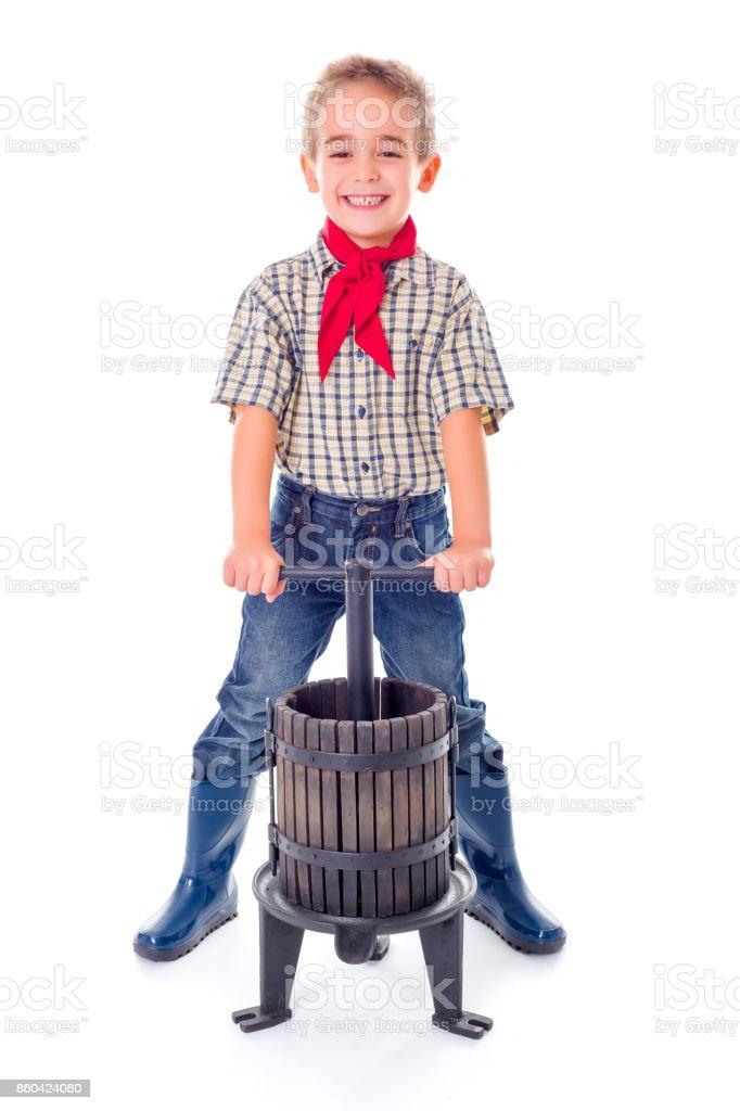 Casual farmer boy stock photo