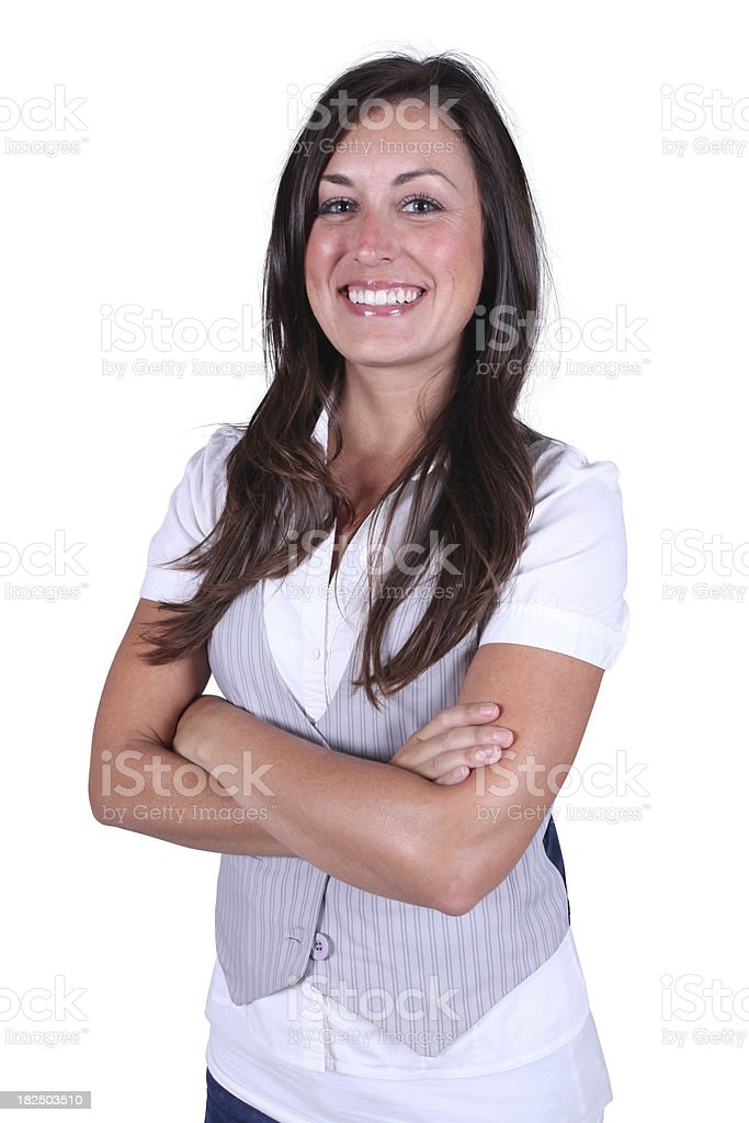 Casual female folding arms royalty-free stock photo