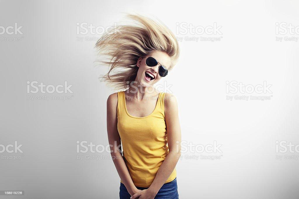 Casual girl having fun stock photo