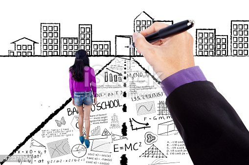 1127798356 istock photo Casual girl with learning doodles 472371756