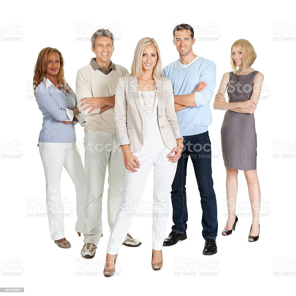 Casual group of people standing over white royalty-free stock photo