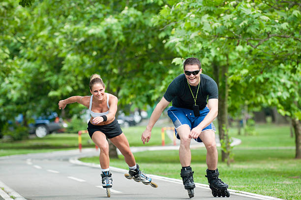 Casual inline skating race stock photo