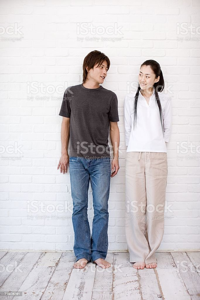 Casual japanese couple stock photo