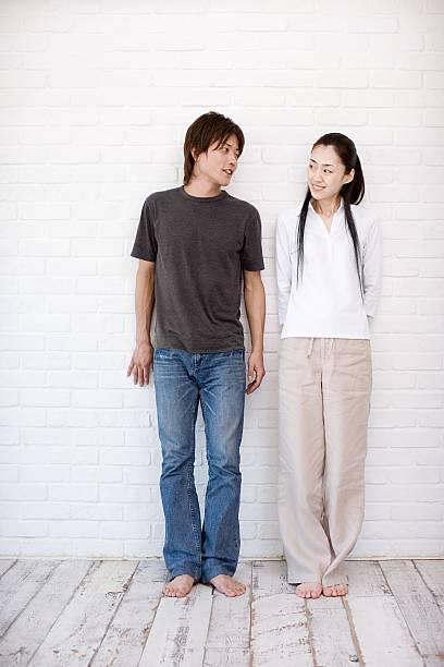 Casual japanese couple stock photo