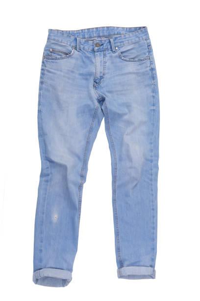 calça de jeans casuais isolado no fundo branco - calça comprida - fotografias e filmes do acervo