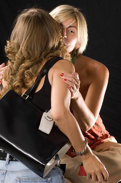 Black and white lesbians kiss