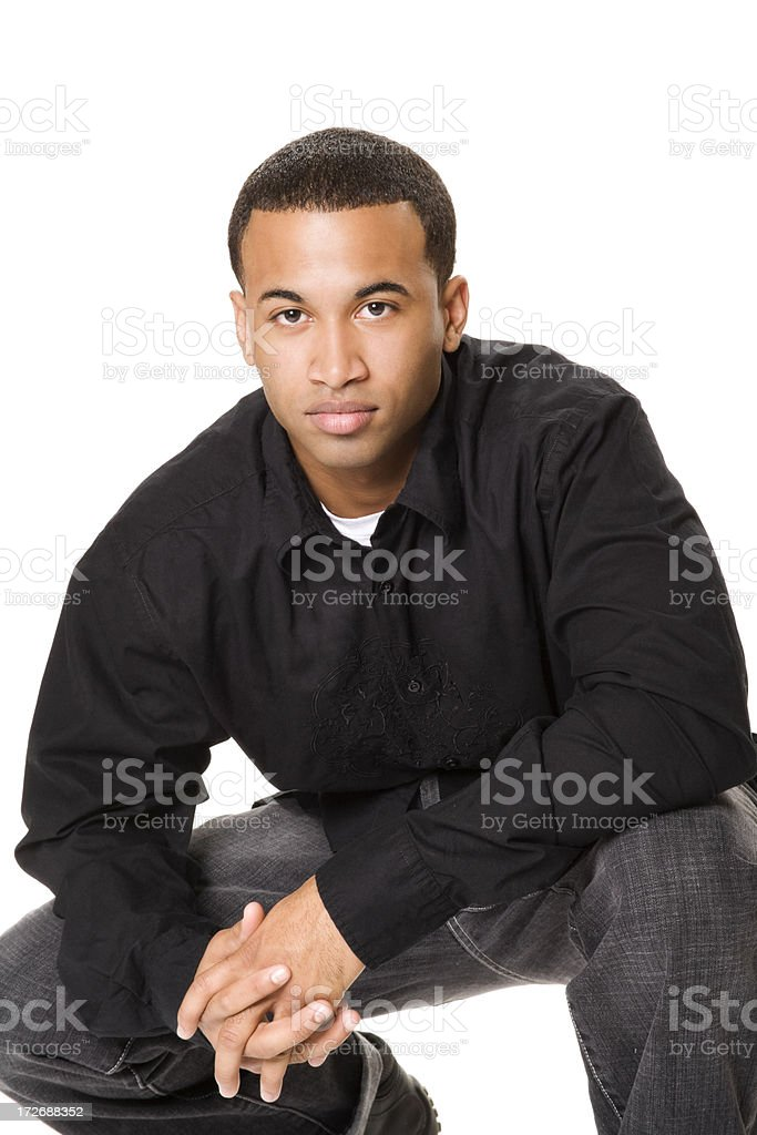Casual Male Crouching royalty-free stock photo
