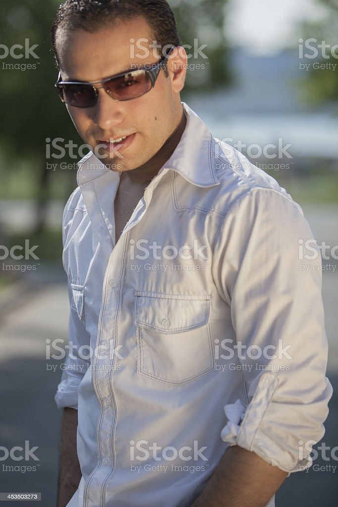 Casual Male in Jeans and T-Shirt stock photo