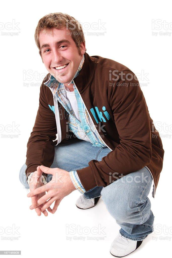 Casual Man Crouching royalty-free stock photo