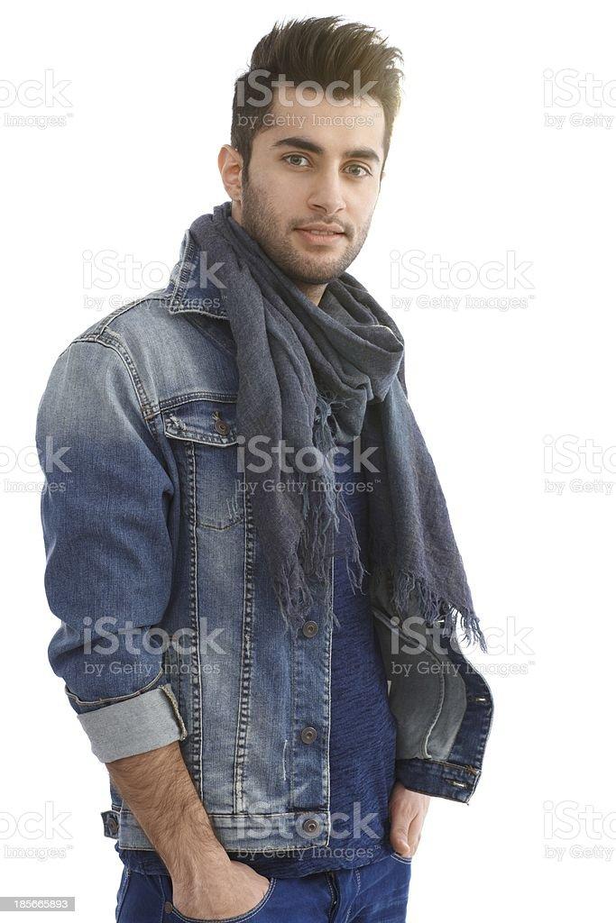 Casual man in denim jacket stock photo