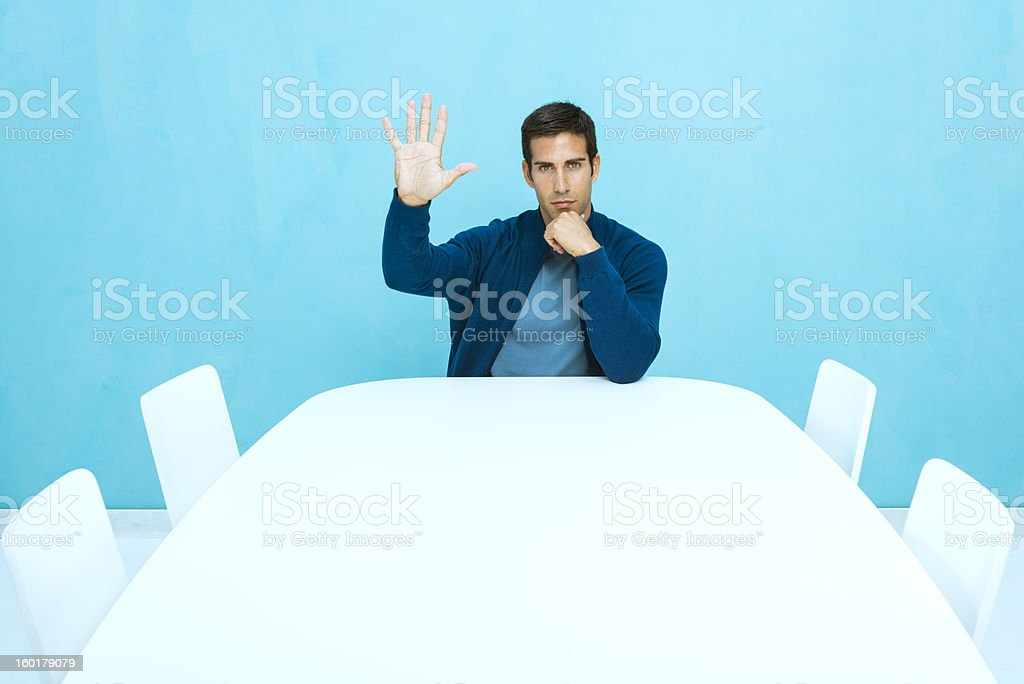 Casual man in empty board room stock photo