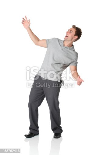 istock Casual man leaning backwards 183762416