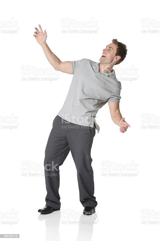 Casual man leaning backwards stock photo