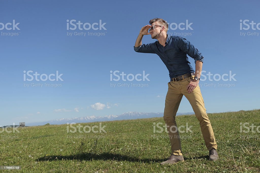 casual man looks far away royalty-free stock photo