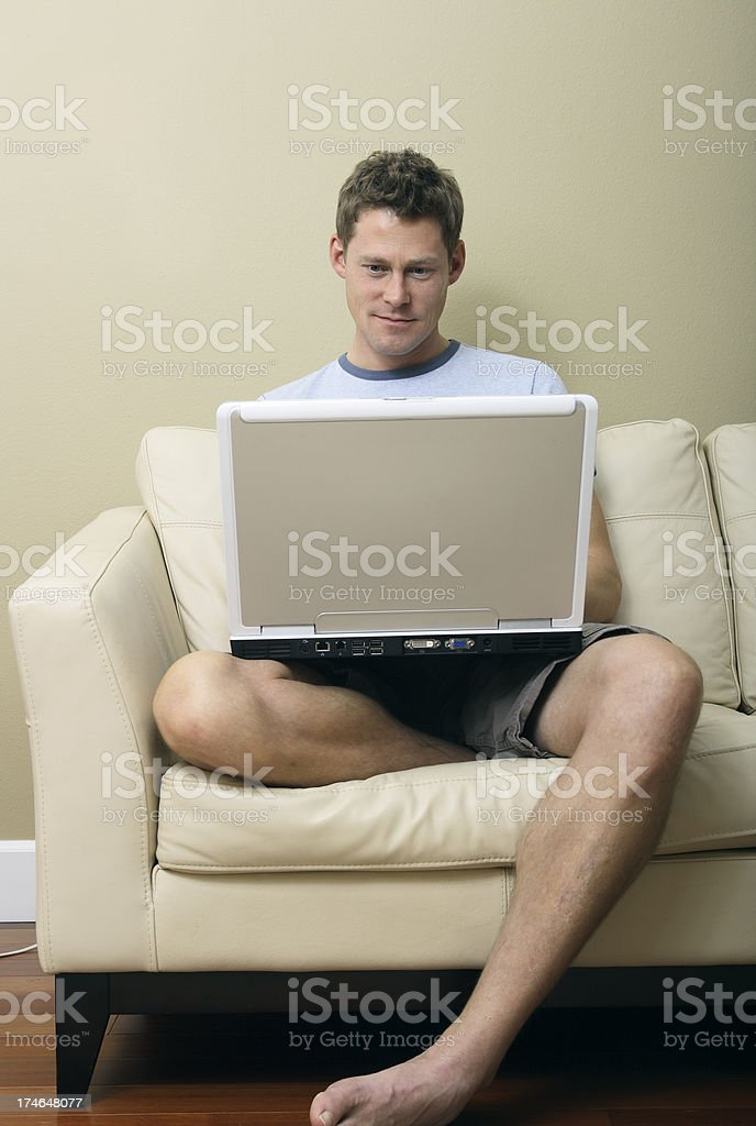 Casual Man on Laptop royalty-free stock photo