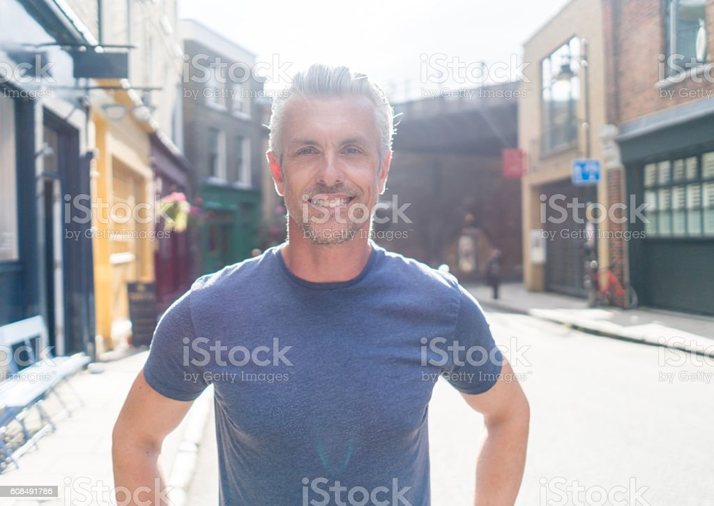 Casual man on the street stock photo