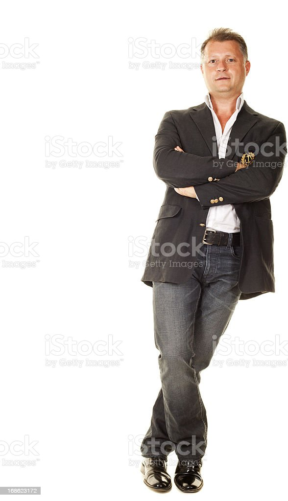 Casual man on white background stock photo
