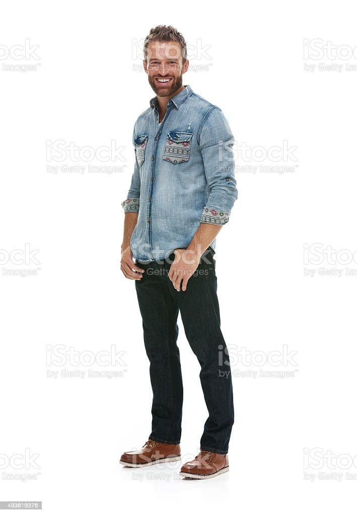 Casual man posing stock photo