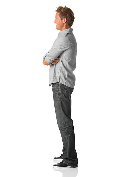 casual man side view - side view stock photos and pictures