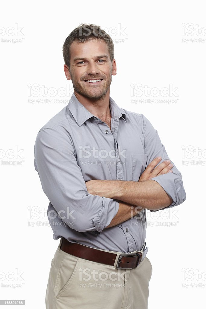 Casual man smiling stock photo