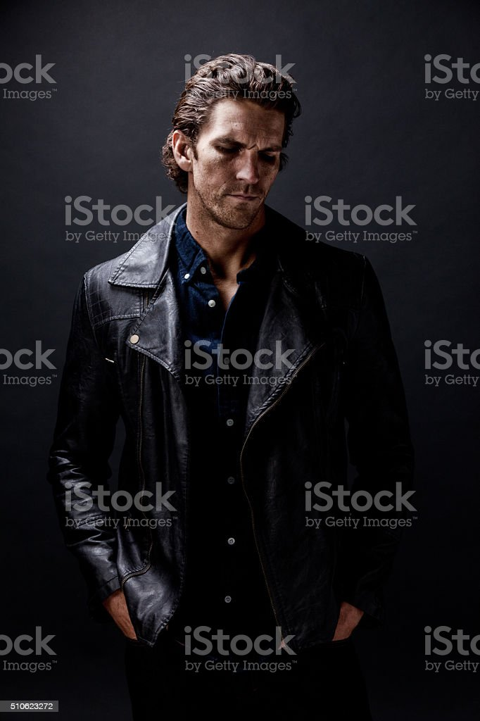 Casual man standing stock photo
