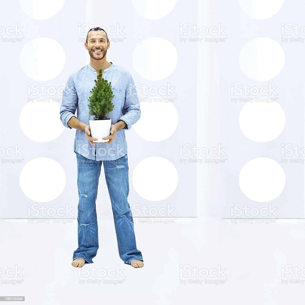 Casual man, thinking green royalty-free stock photo