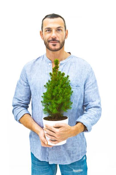 Casual man, thinking green stock photo