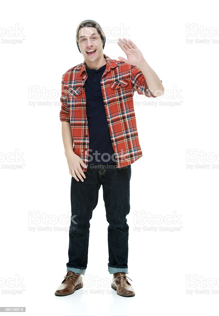 Casual man waving stock photo