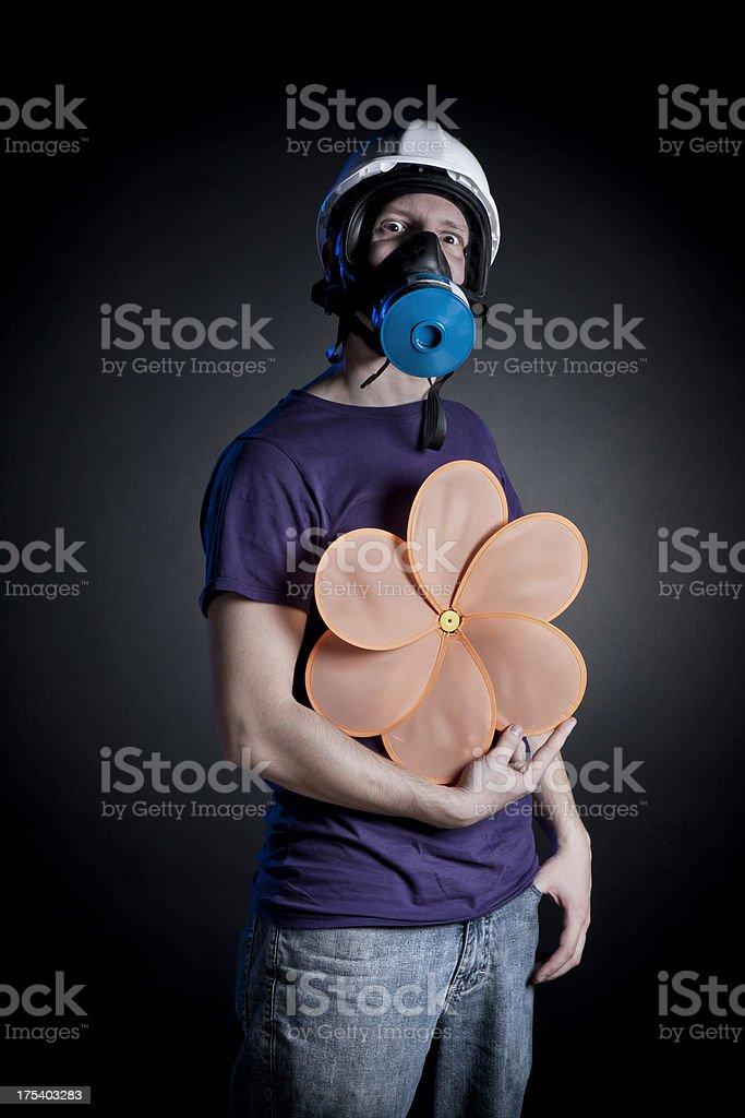 Casual man wearing a gasmask royalty-free stock photo