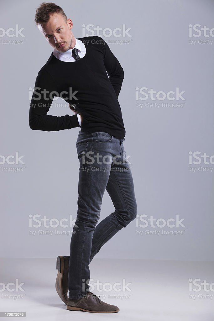 casual man with twisted body royalty-free stock photo