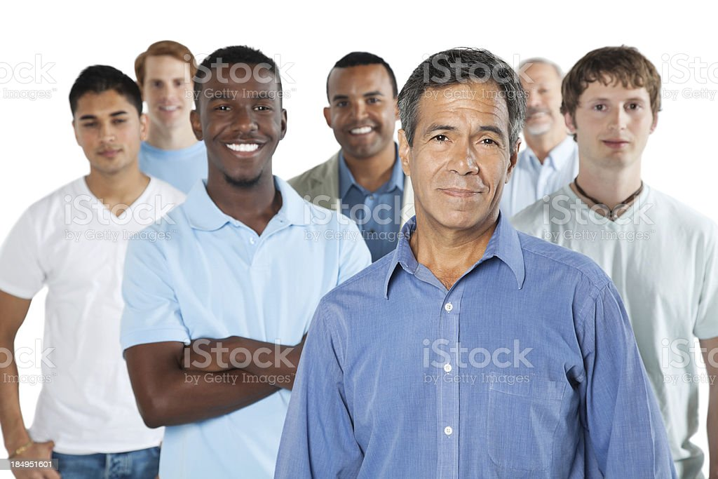 Casual men standing with white background stock photo