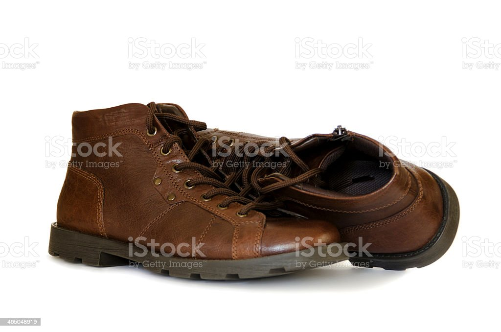 Casual mens ankle boots in brown vintage leather stock photo