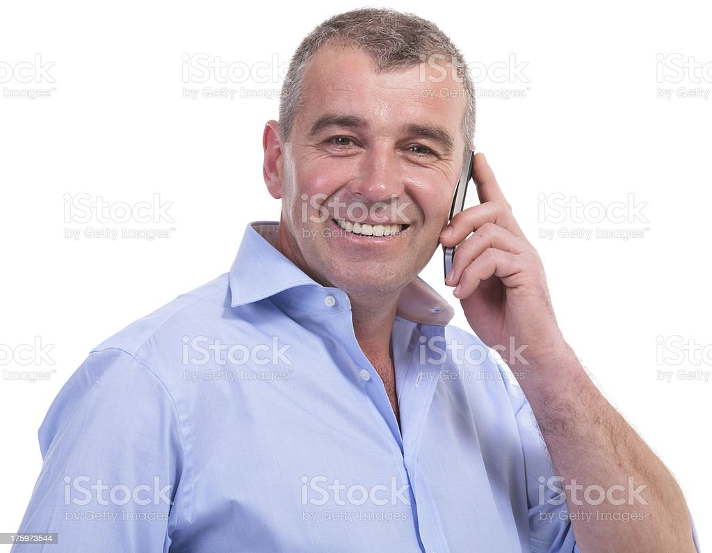 casual middle aged man on the phone royalty-free stock photo