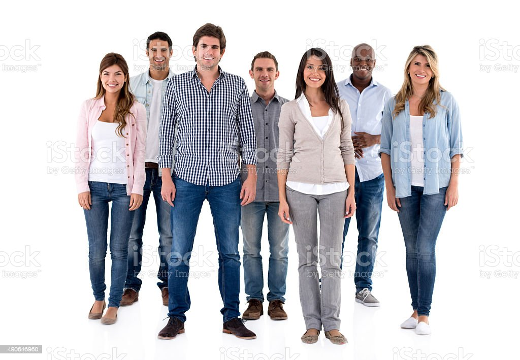 Casual multi-ethnic group looking happy stock photo