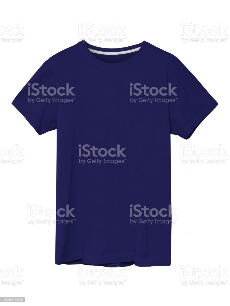 Casual navy blue men`s singlet with copy space isolated stock photo