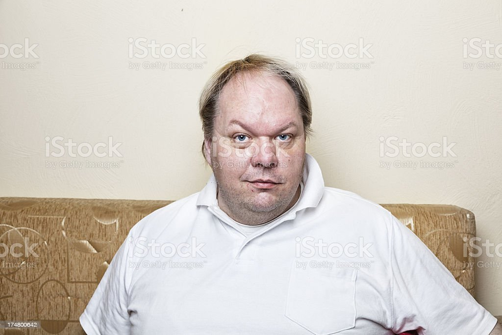 casual overweight man smile stock photo